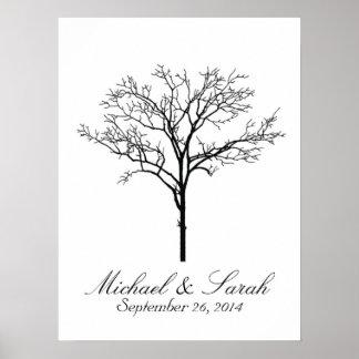 Guestbook del árbol de la huella dactilar del boda póster