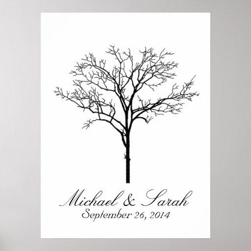 Guestbook del árbol de la huella dactilar del boda poster