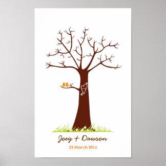 Guestbook del boda del árbol de la huella dactilar póster