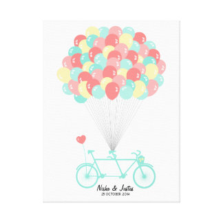 Guestbook en tándem del boda de la bicicleta en impresión en lienzo