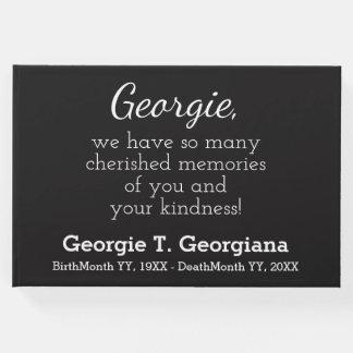 Guestbook fúnebre blanco y negro simple, elegante libro de invitados
