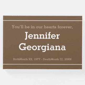Guestbook minimalista y simple de la condolencia libro de visitas