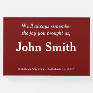 Guestbook mínimo, respetable de la condolencia libro de visitas