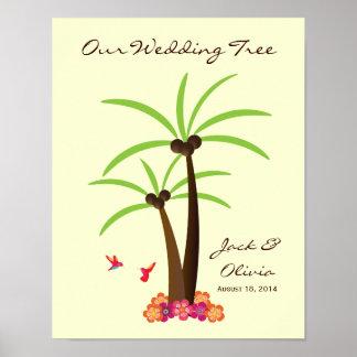Guestbook tropical de Thumbprint de la palmera del Póster