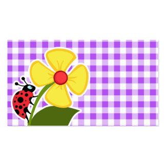 Guinga a cuadros púrpura Mariquita Tarjeta Personal
