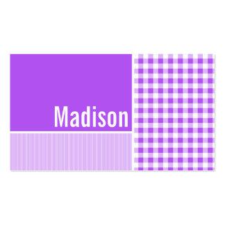 Guinga a cuadros púrpura tarjetas de visita