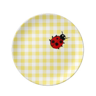 Guinga amarilla soleada con la mariquita platos de cerámica