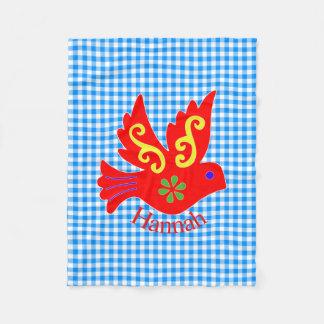 Guinga azul y manta roja del paño grueso y suave