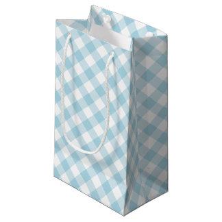 Guinga diagonal azul clara y blanca bolsa de regalo pequeña