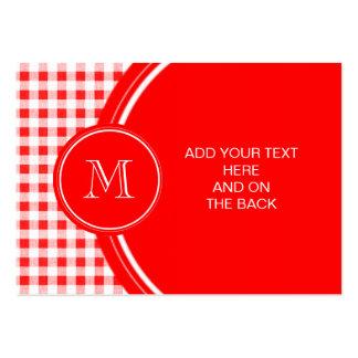 Guinga roja y blanca, su monograma tarjetas de visita grandes
