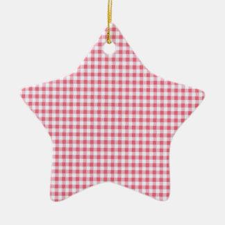 Guinga rosada clásica de la comida campestre adorno de cerámica en forma de estrella