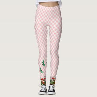 Guinga rosada con las libélulas y las amapolas leggings