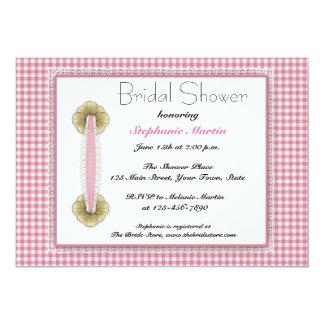 Guinga rosada, cordón, invitación nupcial de la invitación 12,7 x 17,8 cm