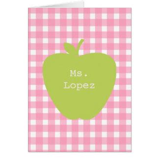 Guinga rosada y profesor verde de Apple Tarjeton