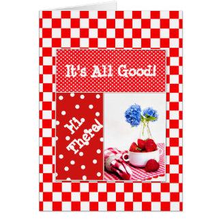 Guinga/tela escocesa/lunares y fresas rojos tarjeta de felicitación