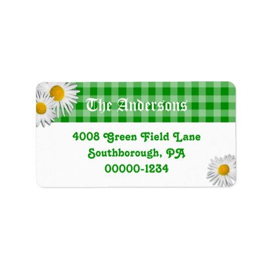Guinga verde y etiquetas de dirección de encargo