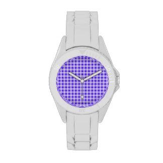 Guinga violeta azul A cuadros Relojes De Mano