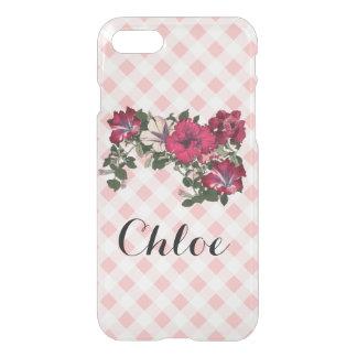 Guinga y petunias rosadas femeninas funda para iPhone 7