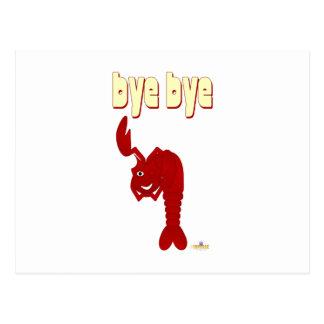 Guiño de adiós rojo de la langosta tarjetas postales