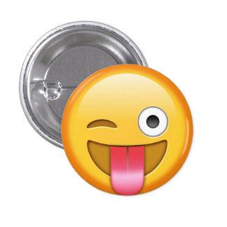 Guiño de la insignia del smiley del emoji chapa redonda de 2,5 cm