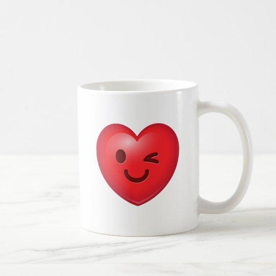 Guiño de la taza de Emoji del corazón