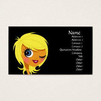 Guiño de tarjetas de visita rubias del chica