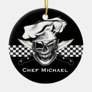 Guiño del cráneo del cocinero adorno redondo de cerámica