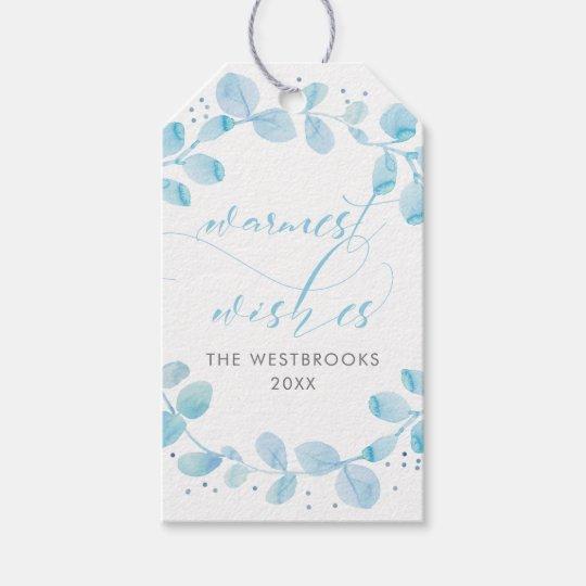 Guirnalda azul clara del invierno etiquetas para regalos