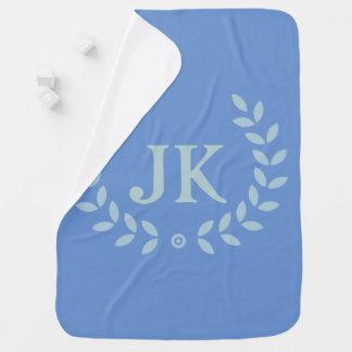 Guirnalda azul de la licencia del monograma manta de bebé