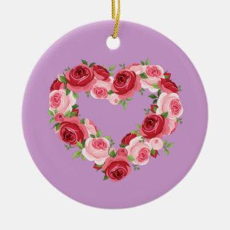 Guirnalda de la flor del corazón, amor adorno redondo de cerámica