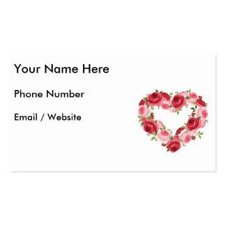 Guirnalda de la flor del corazón, amor tarjetas de visita