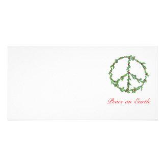 Guirnalda de la paz del navidad de la tarjeta de l tarjetas personales