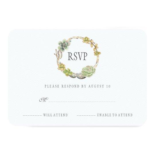 Guirnalda de Succulents, de ramitas y de piedras Invitación 8,9 X 12,7 Cm