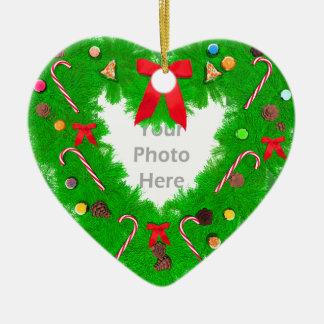 Guirnalda del corazón del navidad (marco de la adorno de cerámica en forma de corazón