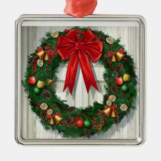 Guirnalda del navidad adorno cuadrado plateado