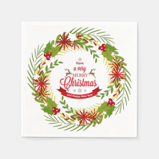 Guirnalda del navidad con el muérdago servilletas de papel