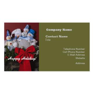 Guirnalda del navidad de la familia del muñeco de tarjetas de visita