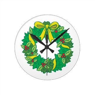 Guirnalda del navidad reloj redondo mediano