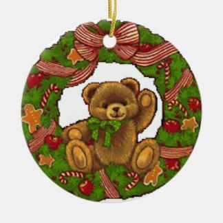 Guirnalda del oso de peluche del navidad adorno redondo de cerámica
