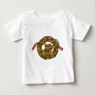 Guirnalda del oso de peluche del navidad camiseta de bebé