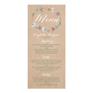 Guirnalda del Wildflower en menú del boda del país Folleto Publicitario 10 X 22,8 Cm