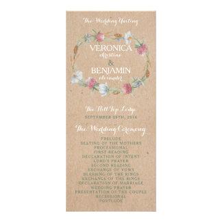 Guirnalda del Wildflower en programa del boda del Diseño De Tarjeta Publicitaria