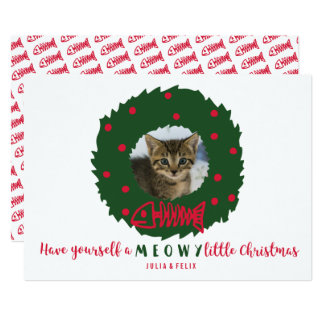 Guirnalda divertida del navidad del gato con su invitación 12,7 x 17,8 cm
