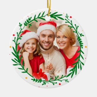 Guirnalda elegante moderna del navidad de la foto adorno redondo de cerámica