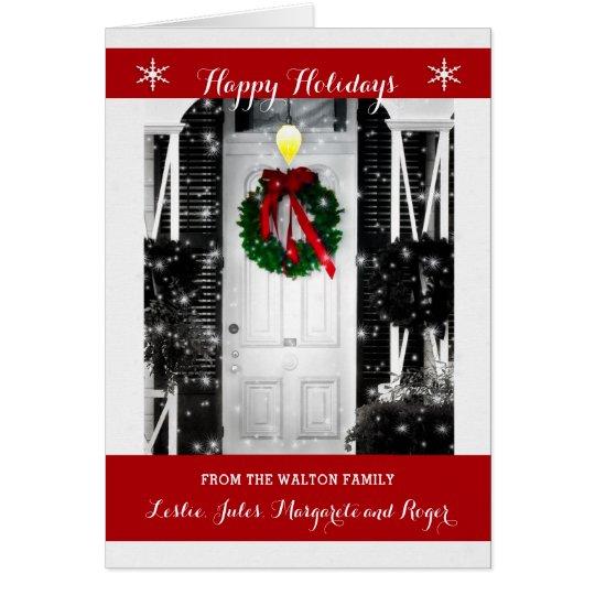 Guirnalda en la puerta buenas fiestas con nombre tarjeta de felicitación