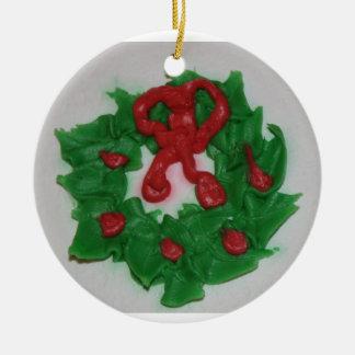 Guirnalda escarchada de la torta adorno de navidad