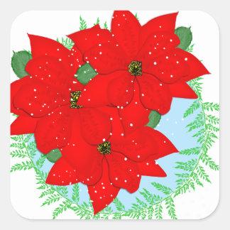 Guirnalda festiva del Poinsettia rojo de las Pegatina Cuadrada