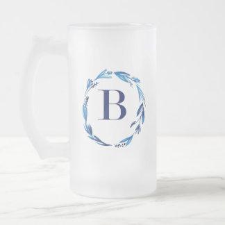 Guirnalda floral azul 'B Taza De Cristal Esmerilado