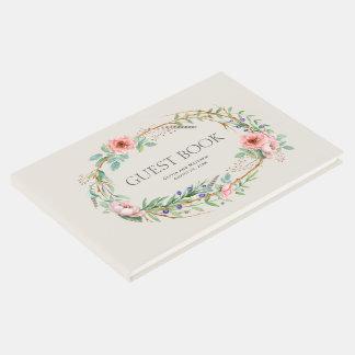 Guirnalda floral de Boho con su texto de encargo Libro De Visitas