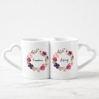 Guirnalda floral de la acuarela rústica de Boho Set De Tazas De Café